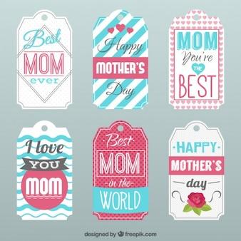 Colección de etiquetas vintage del día de la madre
