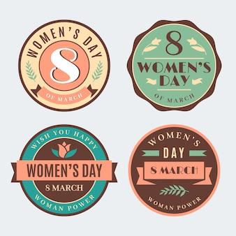 Colección de etiquetas vintage para el día de la mujer