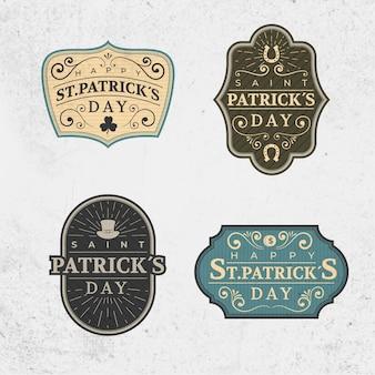 Colección de etiquetas vintage del día de san patricio