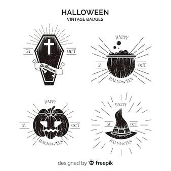 Colección de etiquetas vintage de halloween  en blanco y negro