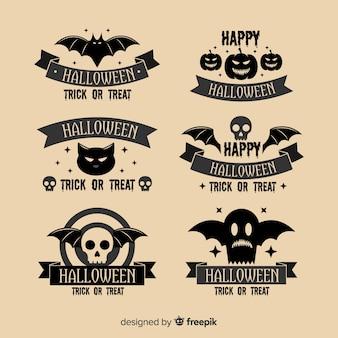 Colección de etiquetas vintage de halloween