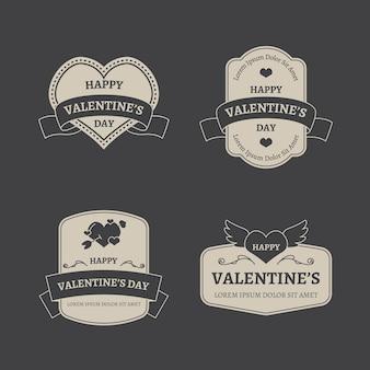 Colección de etiquetas vintage de san valentín