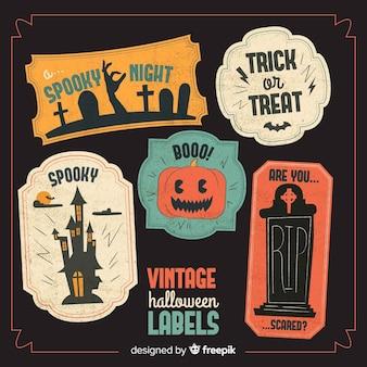 Colección de etiquetas vitage de halloween