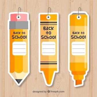 Colección de etiquetas de vuelta al cole en estilo de lápices