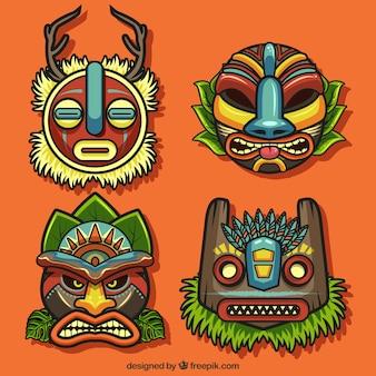 Colección étnica de máscaras tiki