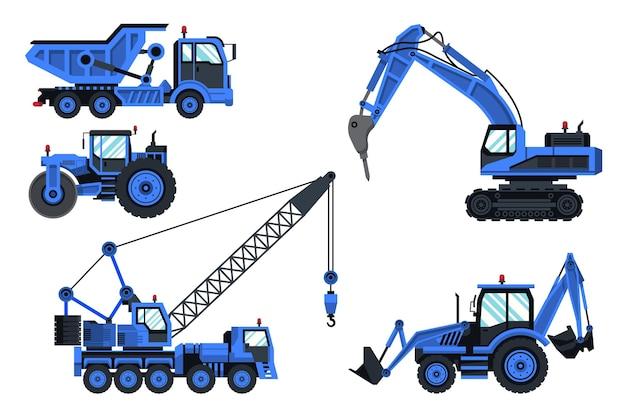 Colección de excavadoras azules