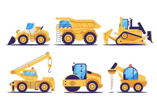 Colección de excavadoras de diseño plano
