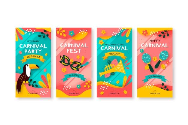Colección exótica de historias de instagram de carnaval de aves y máscaras