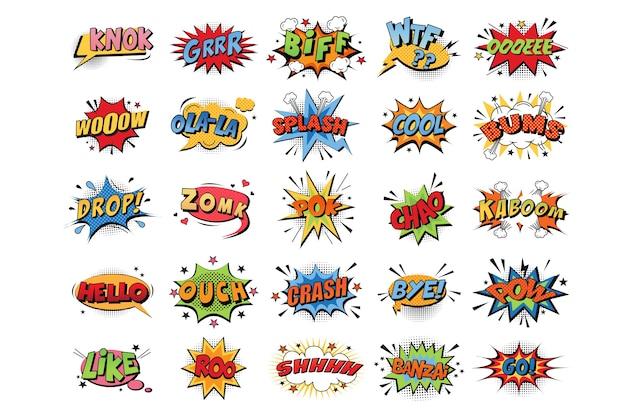 Colección de explosiones de colores emocionales de dibujos animados