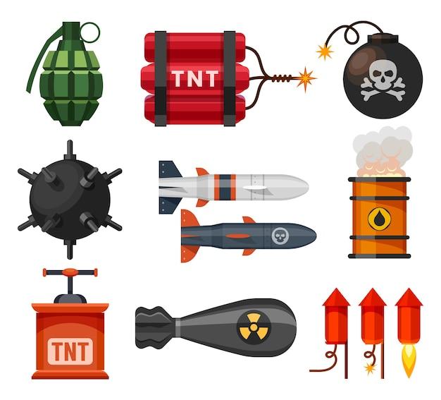 Colección de explosivos aislado en blanco