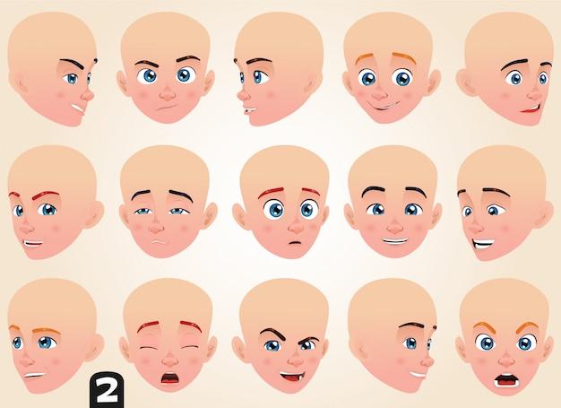 Colección de expresiones faciales de diferentes lados.