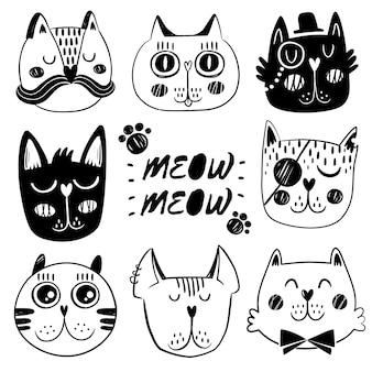 Colección de expresiones faciales de gatos