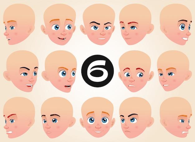 Colección de expresiones faciales para un niño pequeño
