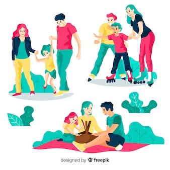 Colección familia dibujada a mano haciendo actividades en el exterior