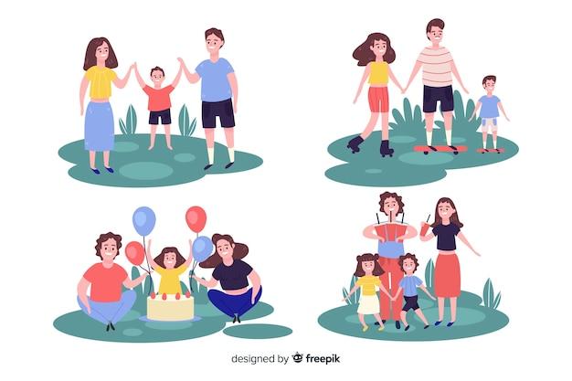 Colección familia en el parque dibujada a mano