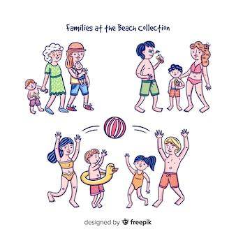 Colección familia en la playa dibujada a mano