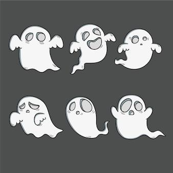 Colección fantasma de halloween dibujada a mano