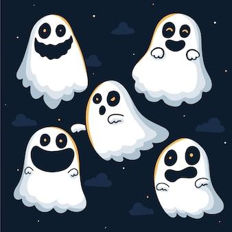 Colección fantasma de halloween de diseño dibujado a mano