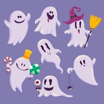Colección fantasma de halloween en diseño plano