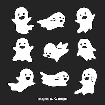 Colección de fantasmas adorables de halloween en diferentes poses