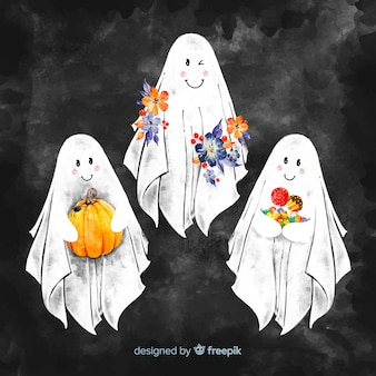 Colección de fantasmas de halloween adorables dibujados a mano