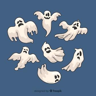 Colección de fantasmas de halloween dibujados a mano