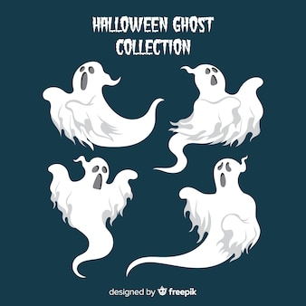 Colección de fantasmas de halloween en diferentes poses