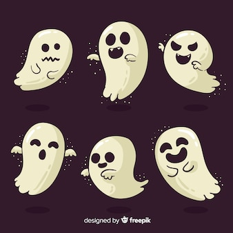 Colección de fantasmas de halloween con diseño plano