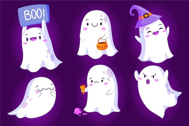 Colección de fantasmas de halloween en diseño plano.
