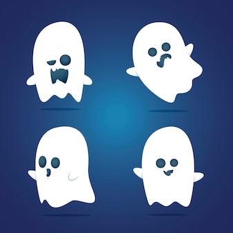 Colección de fantasmas de halloween de miedo de diseño plano