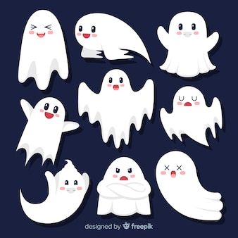 Colección de fantasmas de halloween plana de dibujos animados lindo
