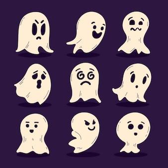 Colección fantasmas de halloween planos dibujados a mano