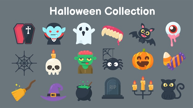 Colección de fantasmas y objetos para halloween. separar elementos del fondo