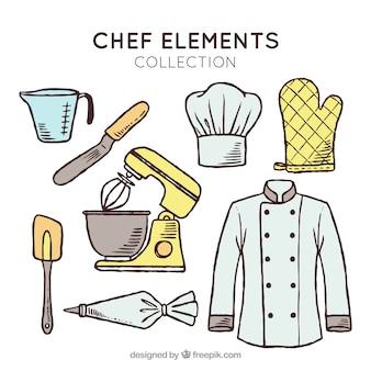 Colección fantástica de elementos de chef dibujados a mano