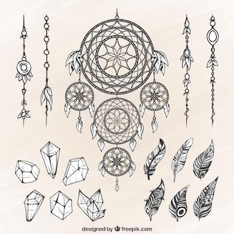 Colección fantástica de elementos étnicos dibujados a mano