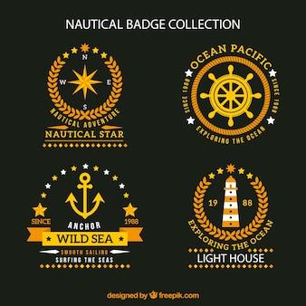 Colección fantástica de insignias náuticas planas