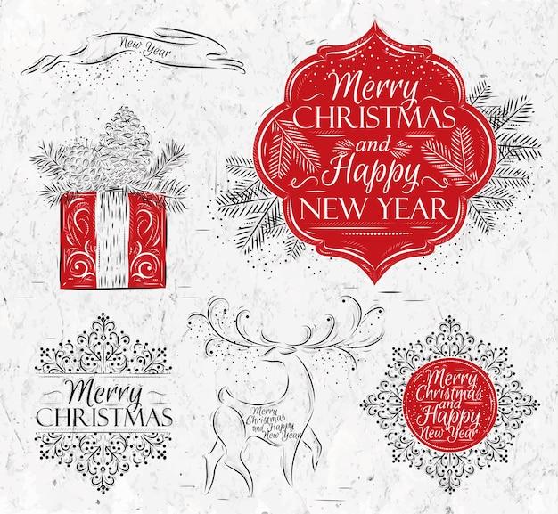 Colección de feliz navidad y año nuevo.
