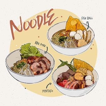 Colección de fideos comida tailandesa dibujar a mano boceto