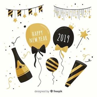 Colección fiesta año nuevo elementos dorados