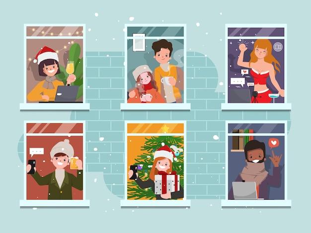 Colección de fiesta de navidad feliz de personas que se quedan en casa.