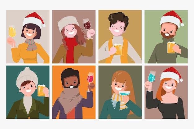 Colección de fiesta de navidad feliz de personas en ropa de invierno.