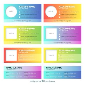 Colección de firma de correo electrónico en colores degradados