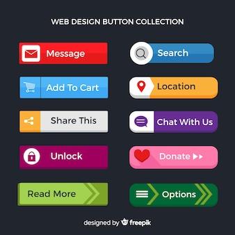 Colección flat de botones web