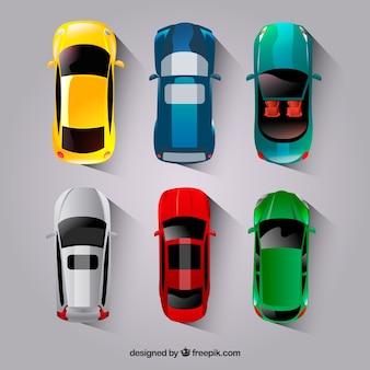 Colección flat de coches con coche descapotable