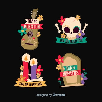 Colección flat day of the dead label