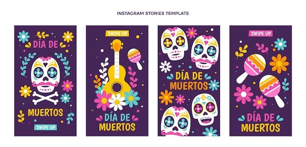 Colección flat dia de muertos instagram stories