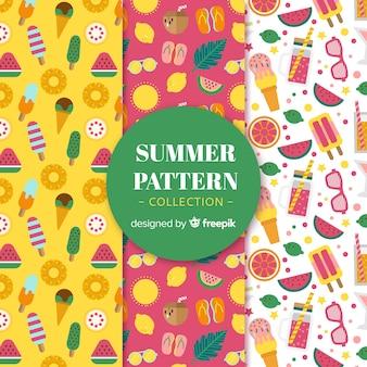 Colección flat de patrones de verano