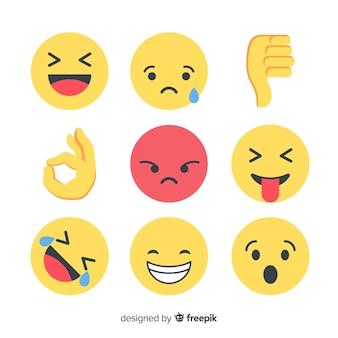 Colección flat de reacciones de emoticonos Vector Premium