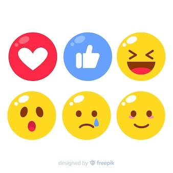 Colección flat de reacciones de emoticonos