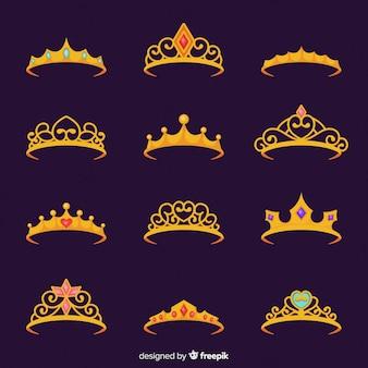 Colección flat de tiaras de princesa